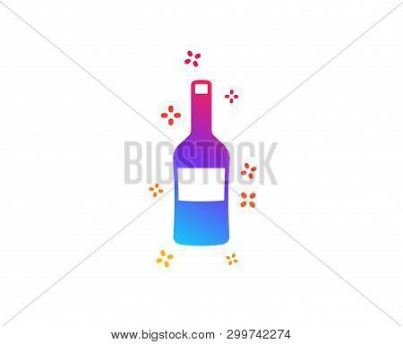 Wine Bottle Icon. Merlot Or Cabernet Sauvignon Sign. Dynamic Shapes. Gradient Design Wine Icon. Clas