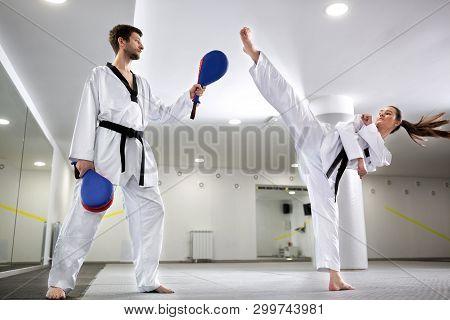 Kick Pad Target Exercise In Martial Art Combat Training