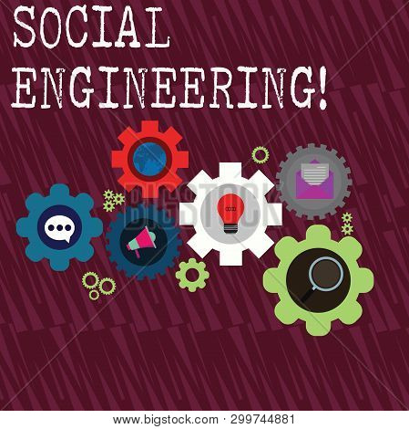 Word writing text Social Engineering. Business concept for attack photo that relies heavily on huanalysis interaction Set of Global Online Social Networking Icons Inside Colorful Cog Wheel Gear. poster