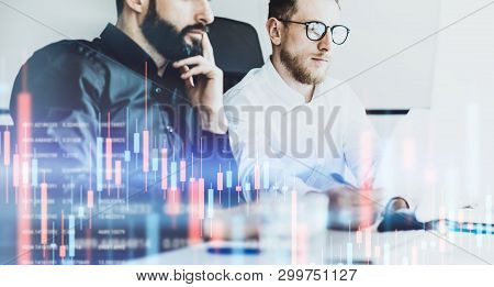 Two Businessmans Making Analysis Technical Price Graph And Indicator, Red And Green Candlestick Char