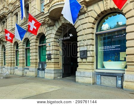 Zurich, Switzerland - August 1, 2016: Facade Of The Credit Suisse Building On Paradeplatz Square Dec
