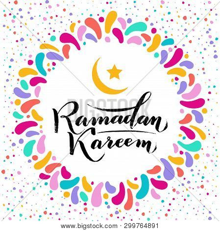 Vector Illustration. Islamic Ramadan Kareem Greeting Beautiful Isolated Gold Lettering Text With Moo