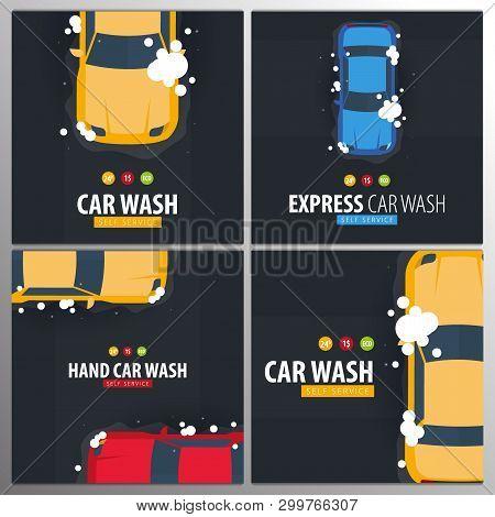 Set Of Car Wash Self Service. Car Washing With Foam. Vector Illustration.