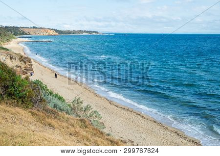 Sandy Beach At The Bottom Of Cliffs In Sandringham In Melbourne, Australia.