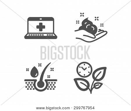 Set Of Skin Care, Medical Help And Serum Oil Icons. Leaves Sign. Hand Cream, Medicine Laptop, Health