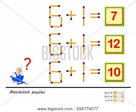 Logic Puzzle Game. In Each Task You Must Move 1 Matchstick To Make The Equations Correct. Printable