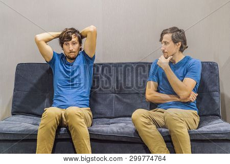 Man Experiencing Frustration Emotions And Evaluate Their Emotions From The Side. Emotional Intellige