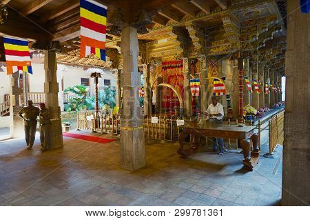 Kandy, Sri Lanka - May 21, 2011: Interior Of The Temple Of The Tooth Relic, Famous Temple Housing To