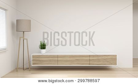 Modern Tv White Wood Cabinet Shelf In Empty Room Interior Background  3d Rendering Home Designs,back