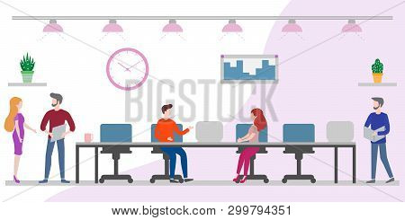 Vector Illustration With Office Men And Women Working Together. Creative People Teamwork. Office Spa