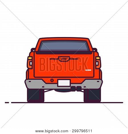 Front View Of Big Pickup. Line Style Vector Illustration. Off Road And Pick Up Delivery Vehicle Bann