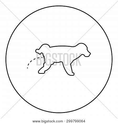 Pissing Dog Puppy Pissing Pet Pissing With Raised Leg Icon In Circle Round Outline Black Color Vecto