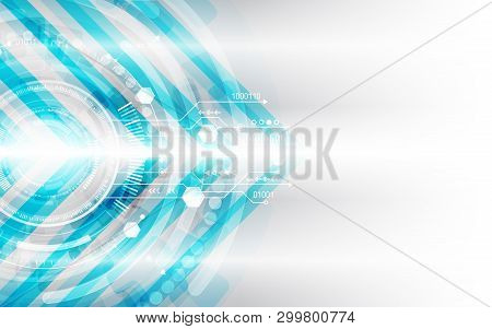 Hi-tech Digital Technology Concept. Illustration High Computer Technology On Grey Background.  Abstr