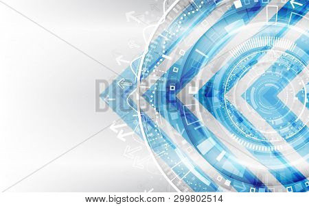 Abstract Futuristic Technological Background With Various Technology Elements. Hi-tech Global Commun