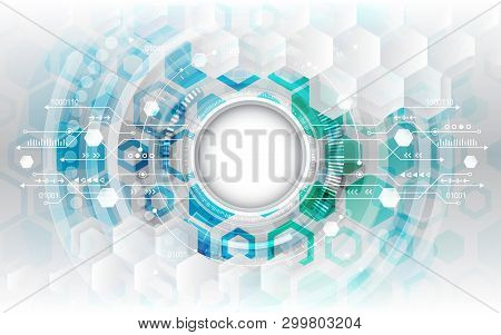 Circuit Board Vector Illustration. Abstract Futuristic Technological Background With Various Technol