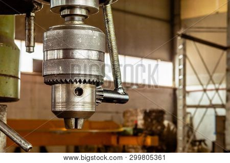 Industrial Metal Drilling Tool In A Factory.