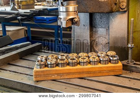 Milling Machine Tool Preparing To Process Iron Detail At Industrial Manufacture Factory