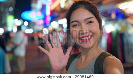 Traveler Asian Blogger Woman Travel In Bangkok, Thailand, Beautiful Female Using Mobile Phone Make V