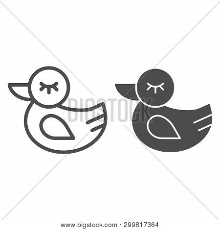 Rubber Duck Line And Glyph Icon. Toy Vector Illustration Isolated On White. Bath Toy Outline Style D