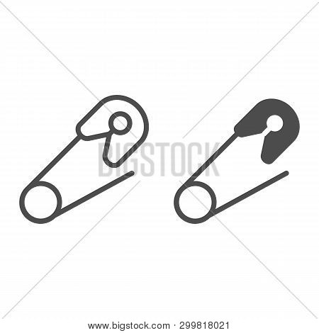 Safety Pin Line And Glyph Icon. Baby Pin Vector Illustration Isolated On White. Clasp Outline Style
