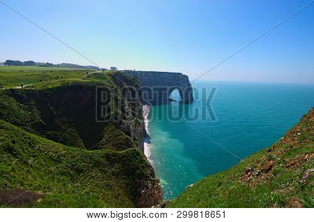 Picturesque Landscape On The Cliff Of Etretat. La Manneporte Natural Rock Arch Wonder, Cliff And Bea