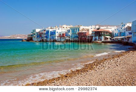 Azure Sea Around Little Venice On Mykonos. Greece
