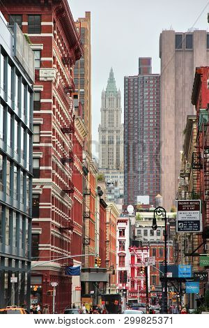 New York - July 1, 2013: Street View Of Tribeca District, New York. The Name Tribeca Is An Abbreviat