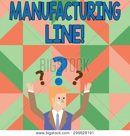 Text sign showing Manufacturing Line. Conceptual photo set of sequential operations established in a factory Confused Businessman Raising Both Arms with Question Marks Above his Head. poster