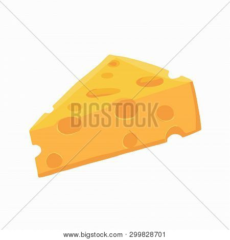 Piece Of Cheese. Cheese Icon Isolated Vector Illustration On White Transparent Background. Illustrat