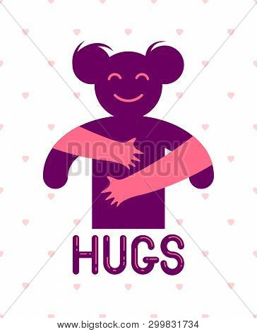 Beloved woman with care hands of a lover or friend hugging her around from behind, vector icon logo or illustration in simplistic symbolic style. poster