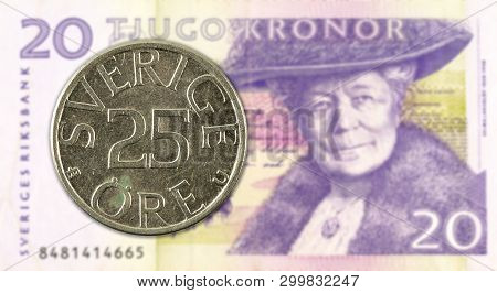 25 Swedish Oere Coin Against 20 Swedish Krona Bank Note