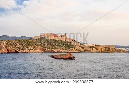 View From The Sea Of Old Ibiza And The Bulwark That Surrounds It  / The Bulwark Of Saint Lucia Is A