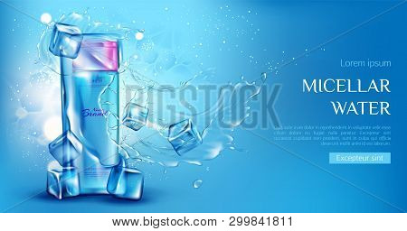Micellar Water Cosmetic Bottle Mockup With Ice Cubes, Aqua Splashes On Blue Background. Beauty Cosme