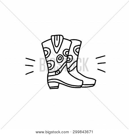 Cowboy Boots Linear Icon. Simple Vector Illustration.