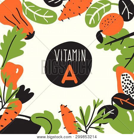 Vitamin A. Vector Cartoon Illustration, Food Infredients With Text Space. Healthy Eating Template
