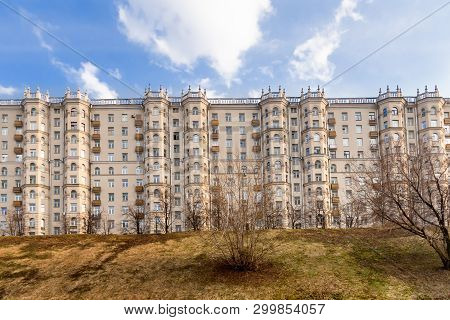 Apartment house on Taras Shevchenko embankment. Sample of Stalins architecture. House with beautiful bay windows. View from Moscow-river. Historical residential complex in the center of Moscow, Russia. poster