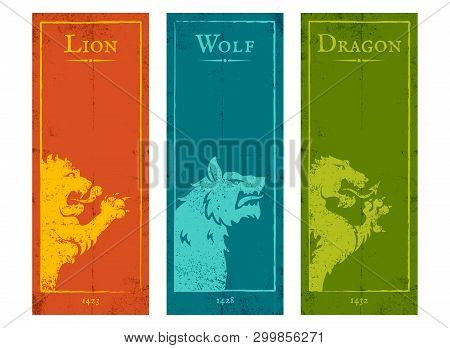 Vector Set Vintage Posters With Lion, Wolf And Dragon. Vintage Banners With Animals For Game Backgro