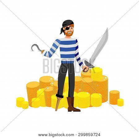 Smiling Pirate, Treasure Hunter Flat Illustration. Man In Striped T Shirt And Eyepatch Cartoon Chara