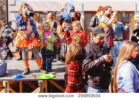 Moscow, Russia - April 12, 2009. Dreamflash, Street Festival Of Soap Bubbles. People Dressed In Funn