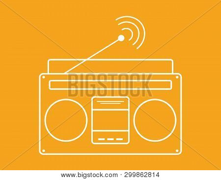 Radio  Icon Vector, Old Retro Radio Receiver Waves, Tuner Sign Isolated On White Background. Old Rec