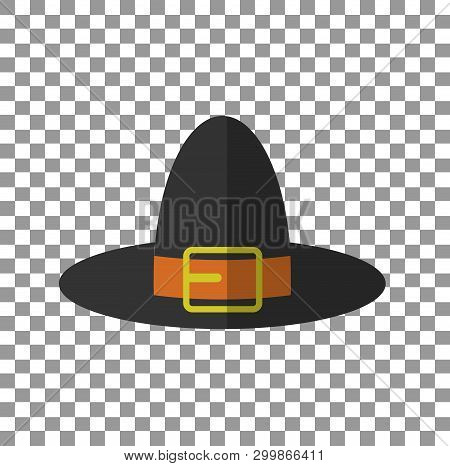 Pilgrim Hat. Eps10 Vector Illustration On Transparent Plaid Background