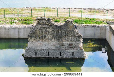 Drobeta Turnu Severin City Romania Roman Bridge Over Danube River Ruins