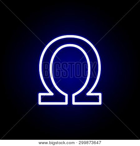 Symbol, Ohm Sign Icon In Neon Style. Can Be Used For Web, Logo, Mobile App, Ui, Ux