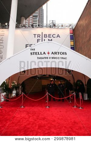 NEW YORK, NY - MAY 03. 2019: Tribeca Film Festival at the Borough of Manhattan Community College with red carpet entrance to Stella Artois theater