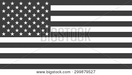 Flag Usa Or American. Flag American Black And White Colored Isolated. Vector Illustration