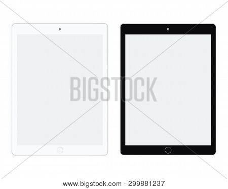 Tablet In White And Black Color Vector. Tablet Set Flat Style. Two I Tablet White And Black Set.