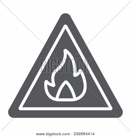 Flammable Sign Glyph Icon, Warning And Attention, Fire Symbol Sign, Vector Graphics, A Solid Pattern
