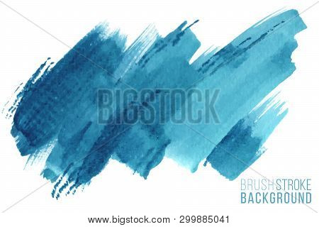 Vector Hand Drawn Watercolor Brush Stain. Colorful Painted Stroke. Blue Color Hand Drawn Background.