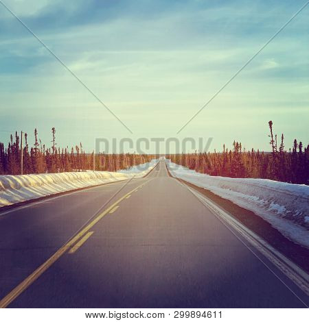 View of Road in winter in Labrador, Canada
