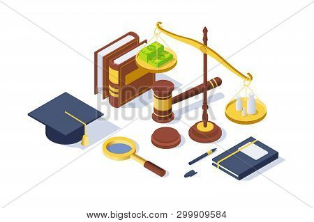 3d Isometric Justice Equipment With Hammer, Pen, Libra Balance, Book. Concept Isolated Legal Tools W